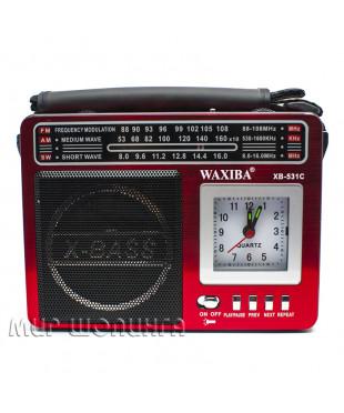Радиоприемник WAXIBA XB-531C, FM/MP3/фонарик/часы