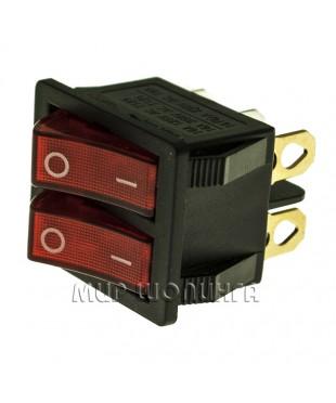Выключатель клавишный 250V ON-OFF ДВОЙНОЙ, 16А (2*3с), красный с подсветкой