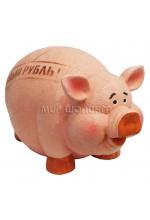 """Свинья копилка """"рубль круче"""" 12*13*21 см."""