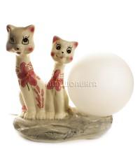 Светильник, пара кошек фарфоровых 21*12*22 см.