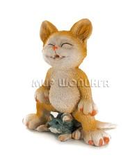 Статуэтка - Кот на мышке, 8,5 см.