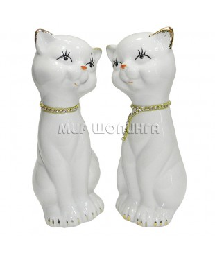 Пара белых кошек 17*6,5*6,5 см.