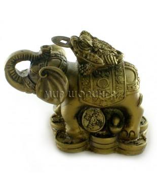 Слон с жабой 6*4,5*8 см.