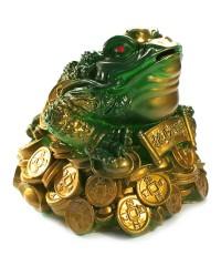 Денежная жаба трёх лапая зелёная (копилка) 18*19*21 см.