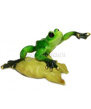 Лягушка на листке 8*16*8 см.