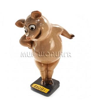 Свинья на весах №1 - 18*9*11,5 см.