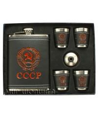 Подарочный набор фляжка Герб СССР 250 мл + 4 стопки