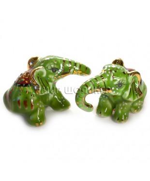 Два слона зелёные (фарфор) 4,5*4*7 см.
