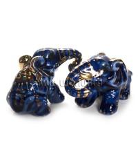 Два слона синие (фарфор) 4,5*4*7 см.