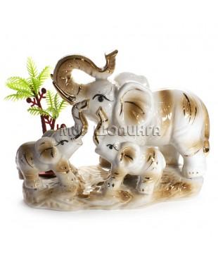 Три слона с пальмой (песочный цвет) 11*7*14 см.