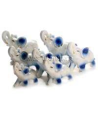 Семь слонов фарфоровых (синие) KL-770.