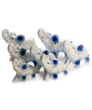 Семь слонов фарфоровых (синие).