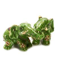 Два слона зелёные (фарфор) 6,5*5*10 см.