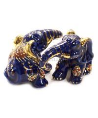 Два слона синие (фарфор) 6,5*5*10 см.