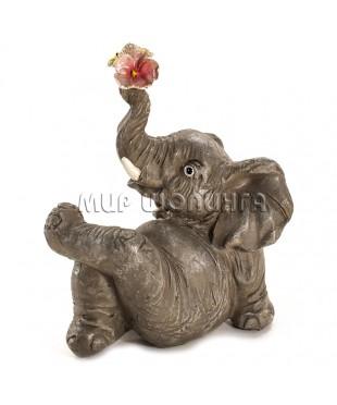 Слон с цветами 10 см.