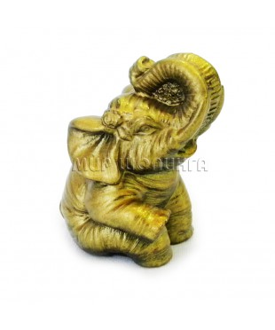 Слон сидит (цвет бронзовый) 5,5 см.