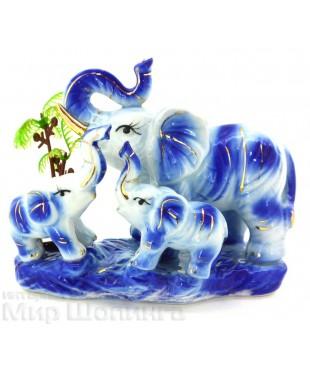 Три слона с пальмой (синий цвет) 11*7*14 см.