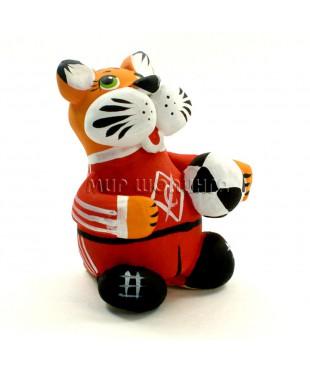 Статуэтка тигр с мячом (свисток) 6,5*5,5*4,5 см.