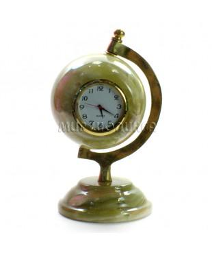Часы (глобус) из оникса 11,5*7*6 см.