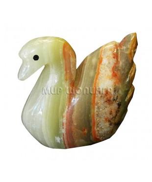 Лебедь из оникса 7*8,5*3,2 см.