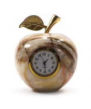Яблоко из оникса с часами 9*7,5 см.