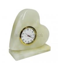 Часы (сердечко) из оникса 8,5*7,5*3,3 см.