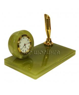 Часы, подставка для ручек из оникса 7,5*12*7 см.