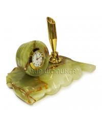 Часы, подставка для ручек из оникса 7,5*13*8 см.