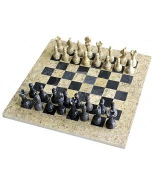 Шахматы из чёрного оникса и яшмы 30*30 см.